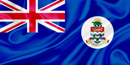 Flag of The Cayman Islands waving in the wind photo
