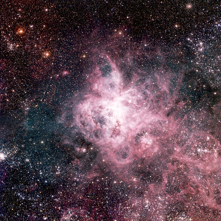 The Tarantula Nebula (also known as 30 Doradus, or NGC 2070) is an H II region in the Large Magellanic Cloud.  photo