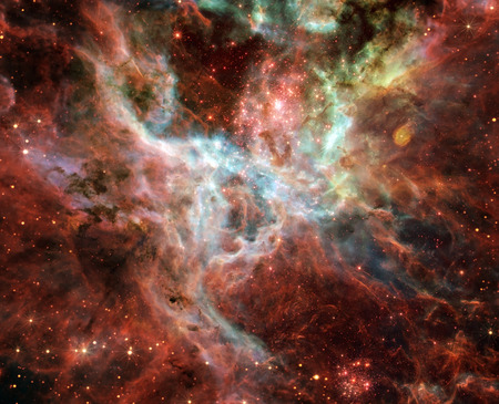 The Tarantula Nebula (also known as 30 Doradus, or NGC 2070) is an H II region in the Large Magellanic Cloud.