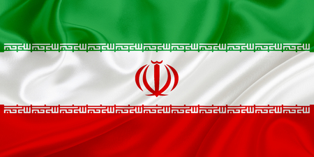 Flag of Iran waving in the wind photo