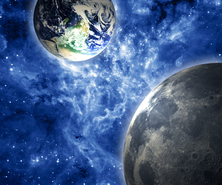Earth and Moon. Elements of this image furnished by NASA. photo