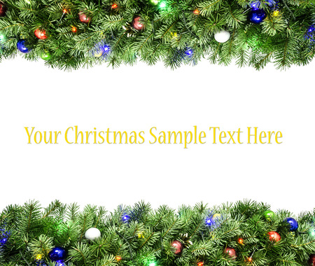 Close Up View Of The Christmas Tree Frame Isolated On White Stock ...