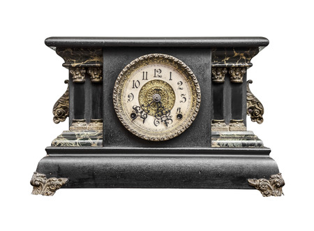 Old clock isolated on a white photo