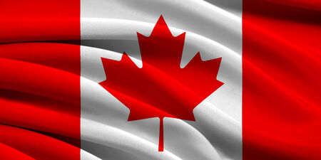 Flag of Canada waving in the wind photo