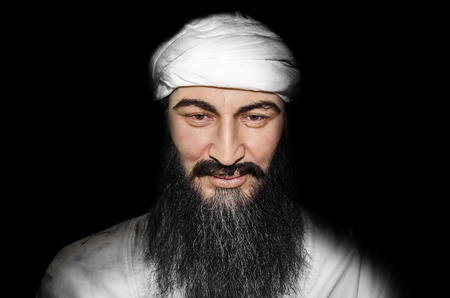 UZHGOROD, UKRAINE - JAN 25, 2014: waxwork Osama bin Laden - Exhibition of Wax Museum Art, Uzhgorod. Stock Photo - 25579138