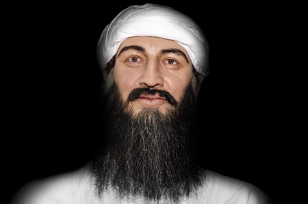 laden: UZHGOROD, UKRAINE - JAN 25, 2014: waxwork Osama bin Laden - Exhibition of Wax Museum Art, Uzhgorod.