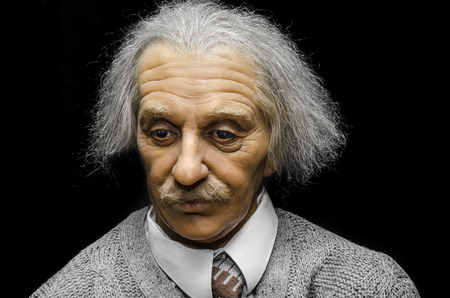 albert: UZHGOROD, UKRAINE - JAN 25, 2014: waxwork Albert Einstein - Exhibition of Wax Museum Art, Uzhgorod.