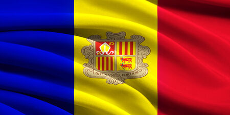 Flag of Andorra waving in the wind photo