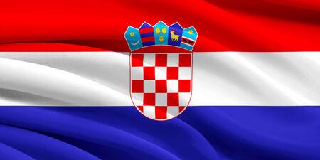 Flag of Croatia waving in the wind photo