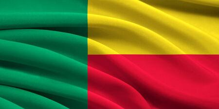 Flag of Benin waving in the wind Stock Photo