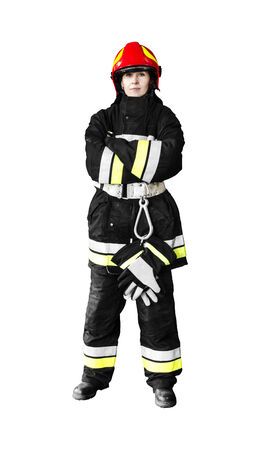 turnouts: Firefighter isolated on a white background