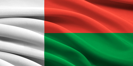 Flag of Madagascar waving in the wind photo