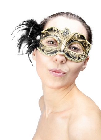 Girl in mask carnival isolated on white photo