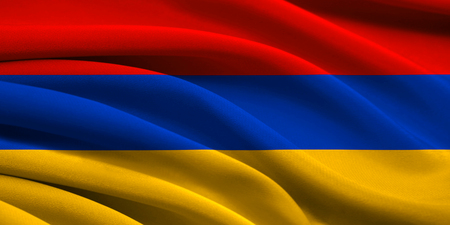 Flag of Armenia waving in the wind photo
