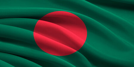 Flag of Bangladesh waving in the wind photo