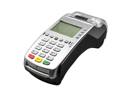 Bank terminal isolated on a white  Stock Photo