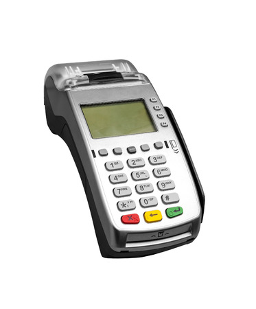 credit card reader: Bank terminal isolated on a white  Stock Photo