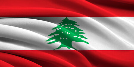 Flag of Lebanon waving in the wind photo
