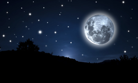 Starry Sky and moon.   photo