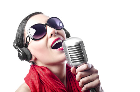 Beutiful girl in the red with microphone