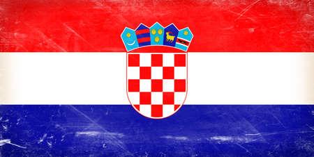 Croatia flag. Shabby vintage flag in grunge style. photo