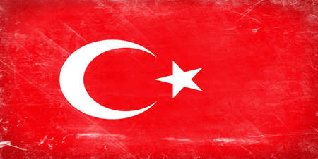 Turkey flag. Shabby vintage flag in grunge style. photo