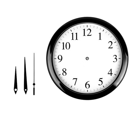 wall clock: Black wall clock isolated on white background Stock Photo