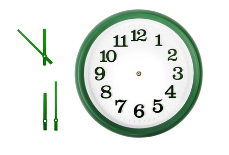 Green wall clock isolated on white background photo