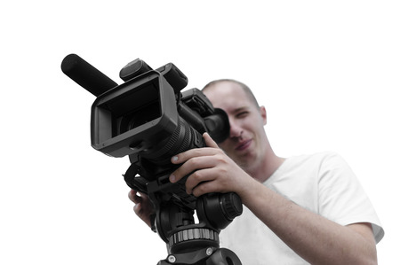 Video camera operator isolated over white photo