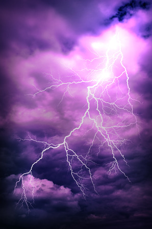 A lightning strike on the cloudy sky Stock Photo - 29378360