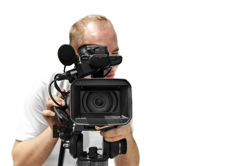 video camera: Video camera operator isolated over white