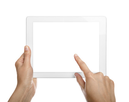 Female teen hands holding generic tablet pc, isolated