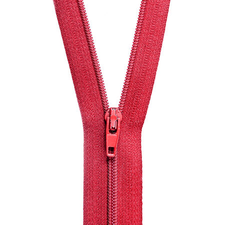 unzipped: Unzipped red zipper isoalted over white background