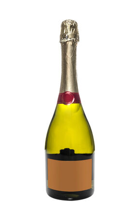 gold capped: Bottle of champagne isolated on white background Stock Photo