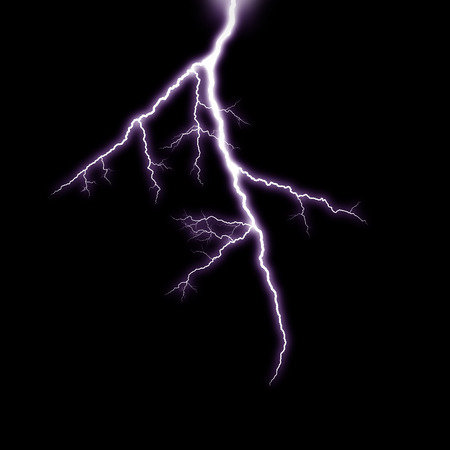 A lightning strike on the black background