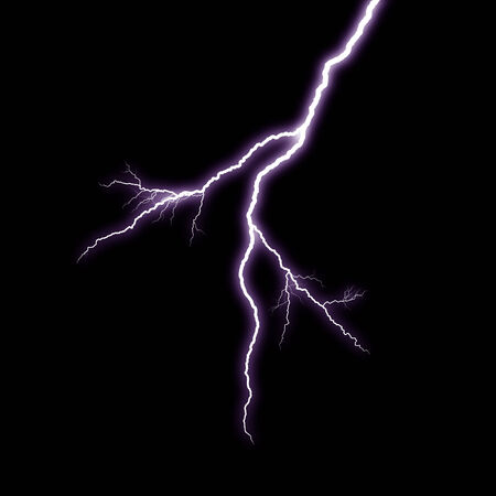 A lightning strike on the black background photo