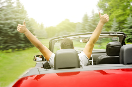 freedom couple: Freedom - happy free man in the car