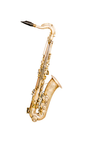 the tenor: Tenor sax golden saxophone isolated on white