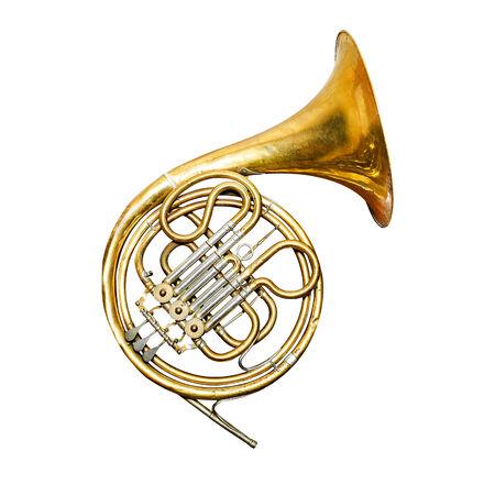 instruments: Golden trumpet isolated on a white background