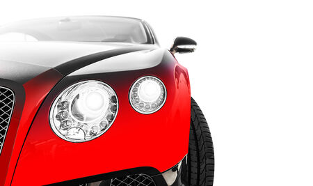 horsepower: Red sports car  isolated over white background Stock Photo