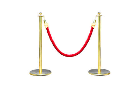 stanchion: Golden fence, golden Stanchion with red barrier rope. Stock Photo