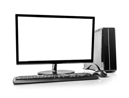 ordinateur bureau: Ordinateur de bureau et le clavier et la souris sur blanc Banque d'images