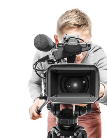 Video camera operator isolated on white background Stock Photo