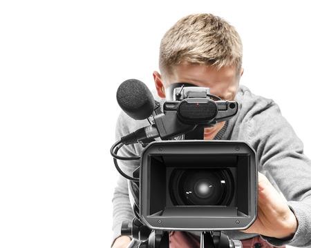 Video camera operator geïsoleerd op witte achtergrond