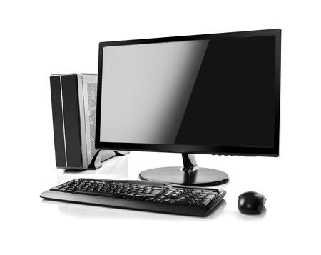 teclado de computadora: Computadora de escritorio y el teclado y el ratón en blanco