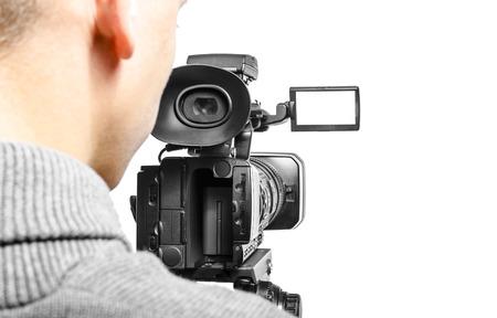 camera lens: Video camera operator isolated on white background Stock Photo