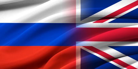 britan: Great Britan and Russia. Relations between two countries. Conceptual image. Stock Photo