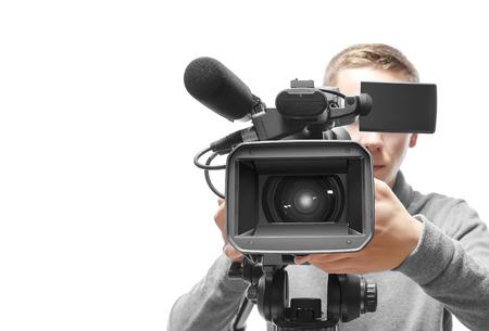 Video camera operator isolated on white background Foto de archivo