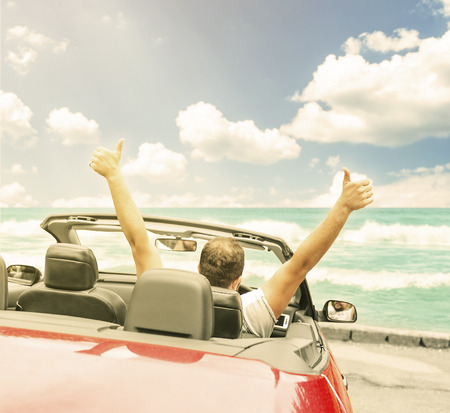 convertible: Freedom - happy free man in the car