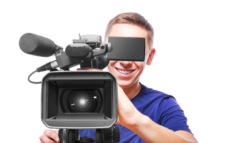 Video camera operator isolated on white background Stock Photo - 32857468